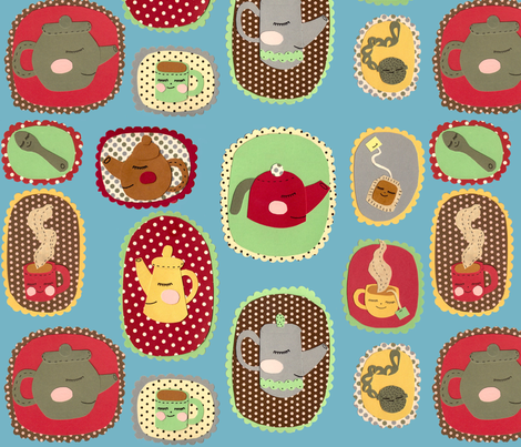 tea time blue fabric by heidikenney on Spoonflower - custom fabric