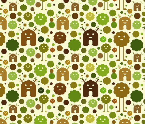 Nature Monsters fabric by jesseesuem on Spoonflower - custom fabric