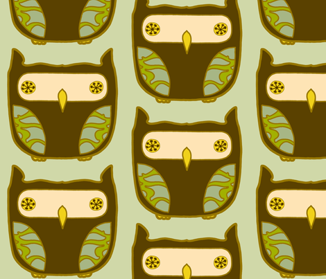 owls_in_mint_single fabric by holli_zollinger on Spoonflower - custom fabric