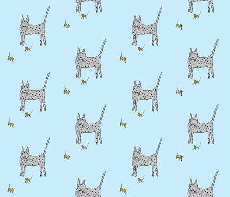 Cat and Mice fabric by toni_elaine on Spoonflower - custom fabric