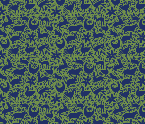 Mexico Springtime: Navy on Olive (Small Scale) fabric by sammyk on Spoonflower - custom fabric