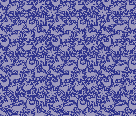 Mexico Springtime: Cornflower on Navy (Small Scale) fabric by sammyk on Spoonflower - custom fabric