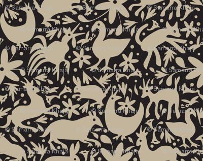 Mexico Springtime: Linen on Black (Small Scale)