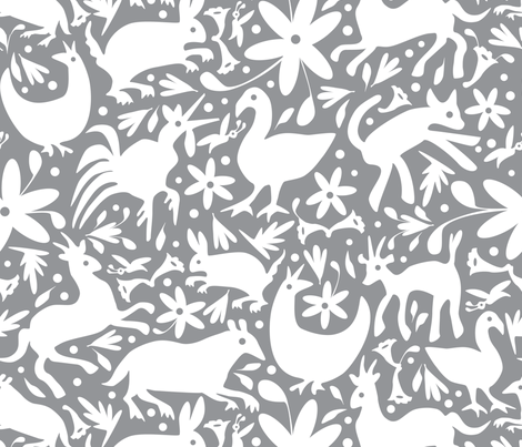 Mexico Springtime: White on Grey (Large Scale) fabric by sammyk on Spoonflower - custom fabric