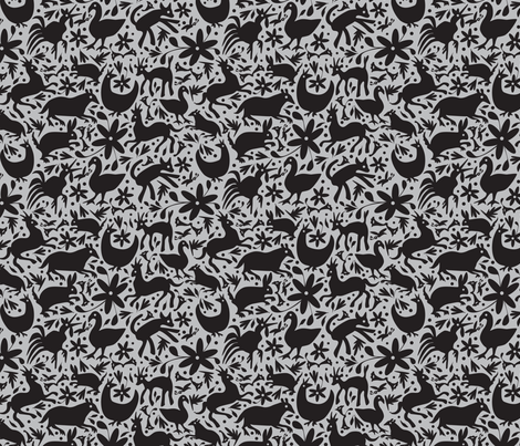 Mexico Springtime: Black on Grey (Small Scale) fabric by sammyk on Spoonflower - custom fabric