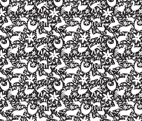 Mexico Springtime: White on Black (Small Scale) fabric by sammyk on Spoonflower - custom fabric