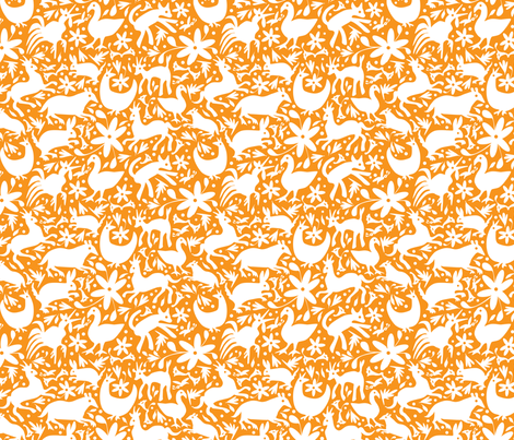 Mexico Springtime: White on Orange (Small Scale) fabric by sammyk on Spoonflower - custom fabric