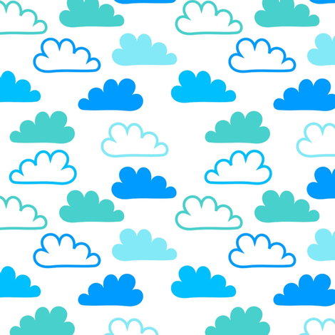Happy Blue Clouds fabric by carinaenvoldsenharris on Spoonflower - custom fabric