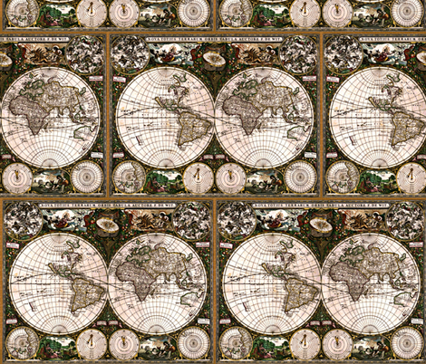 World Map fabric by whimzwhirled on Spoonflower - custom fabric