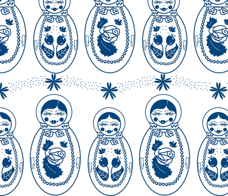 Blue Russian Dolls fabric by babysisterrae on Spoonflower - custom fabric