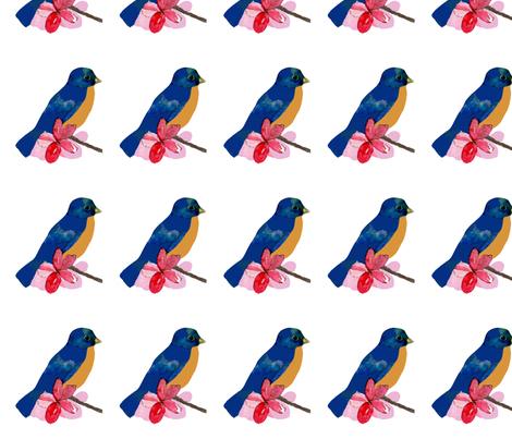 bluebird and pink blossoms fabric by karenharveycox on Spoonflower - custom fabric