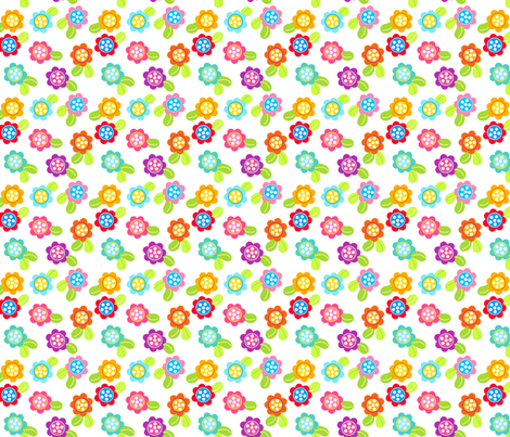 Happy Flowers fabric by carinaenvoldsenharris on Spoonflower - custom fabric
