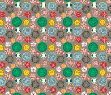 Vintage Buttons (grey) fabric by marcelinesmith on Spoonflower - custom fabric