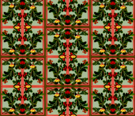 Meet Me Under The Mistletoe fabric by whimzwhirled on Spoonflower - custom fabric