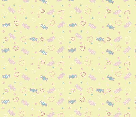 Unicorn Fantasy Candy Repeat Pastel Yellow fabric by pinkmacaroon on Spoonflower - custom fabric