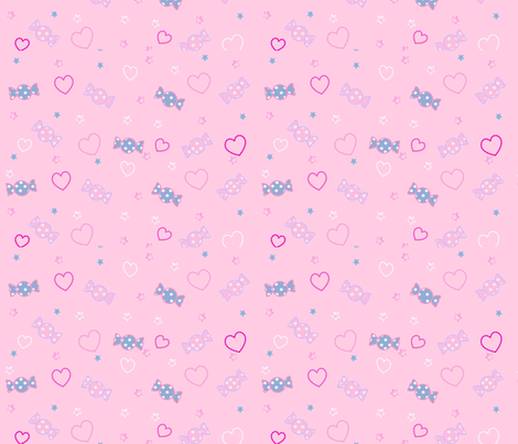 Unicorn Fantasy Candy Repeat Baby Pink fabric by pinkmacaroon on Spoonflower - custom fabric