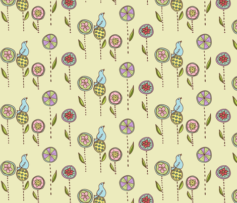 bluebird in a flower garden fabric by katrina_whitsett on Spoonflower - custom fabric