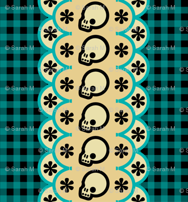 Kitchen Skull Gingham Black