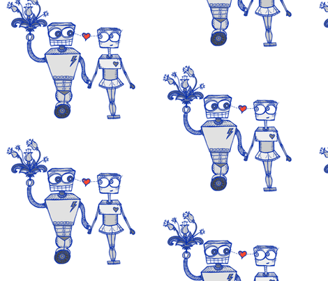 Robots in Love fabric by taraput on Spoonflower - custom fabric