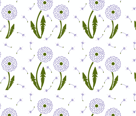 Dandelion Delirium-Lavender fabric by mayabella on Spoonflower - custom fabric