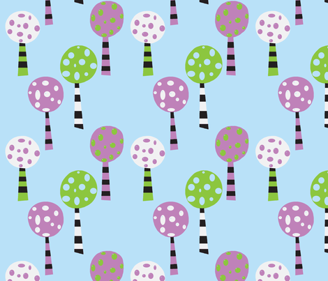 Large Funky Trees-Lime and Lavender