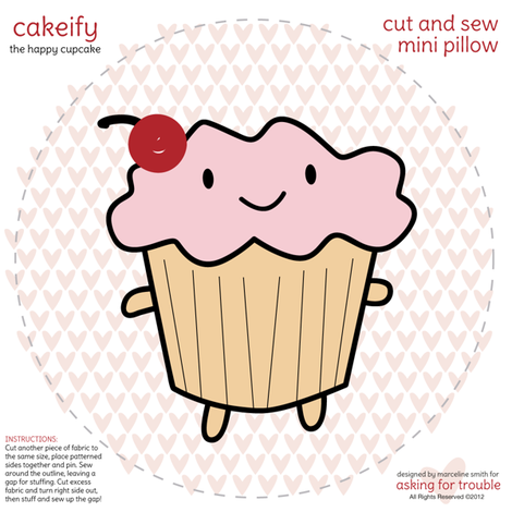 Cakeify the happy cupcake Mini Pillow fabric by marcelinesmith on Spoonflower - custom fabric