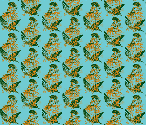 Butterfly Girl, Blue/Green fabric by nalo_hopkinson on Spoonflower - custom fabric