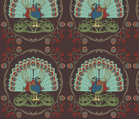 Peacock green fabric by thirdhalfstudios on Spoonflower - custom fabric