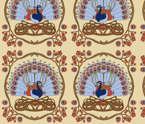 Peacock blue fabric by thirdhalfstudios on Spoonflower - custom fabric