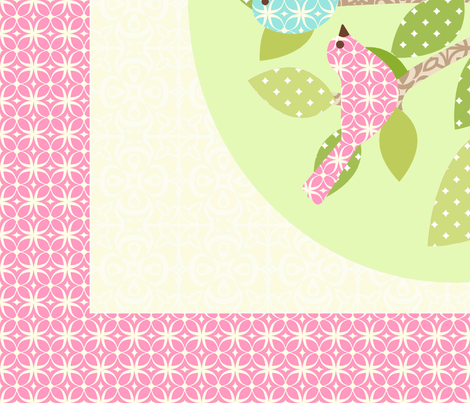 Avian Sanctuary Quilt in Pink fabric by mytinystar on Spoonflower - custom fabric