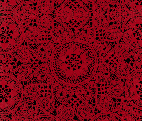 Red Crochet Lace fabric by whimzwhirled on Spoonflower - custom fabric