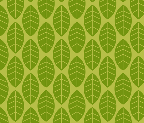 leaves in green fabric by mytinystar on Spoonflower - custom fabric