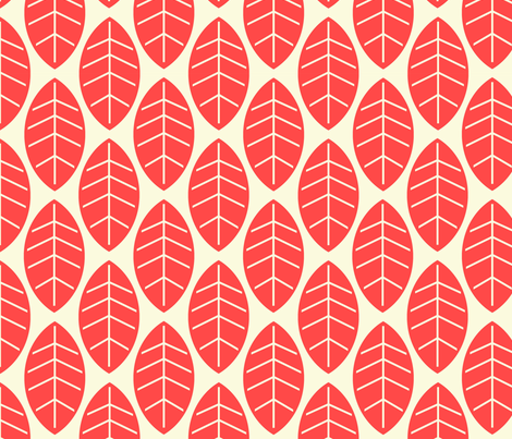 leaves in red fabric by mytinystar on Spoonflower - custom fabric