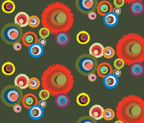 Pompon Olive fabric by dolphinandcondor on Spoonflower - custom fabric