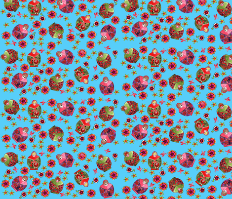 Russian dolls turquoise fabric by nadja_petremand on Spoonflower - custom fabric