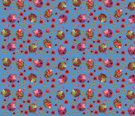 Midnight blue Russian dolls fabric by nadja_petremand on Spoonflower - custom fabric