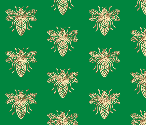 celtic bee gold on green fabric by ingridthecrafty on Spoonflower - custom fabric