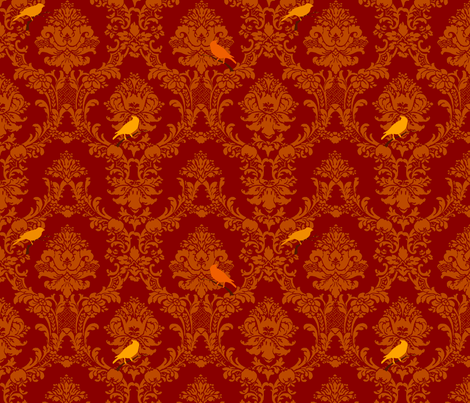Red And Gold Damask Fabric Red Songbird Damask Fabric by