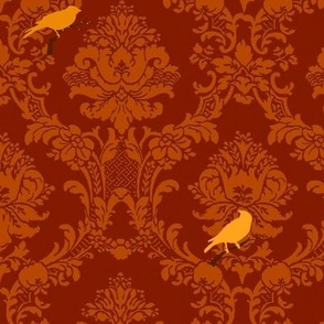 Red Songbird Damask