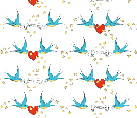 tattoo love fabric by leonielovesyou on Spoonflower - custom fabric