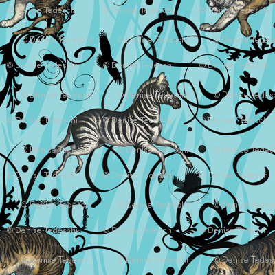 Vintage Animals Aqua