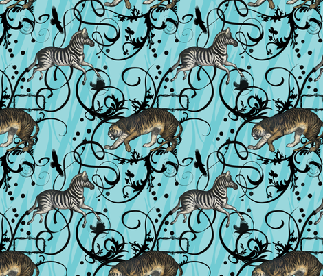 Vintage Animals Aqua fabric by dentednj on Spoonflower - custom fabric