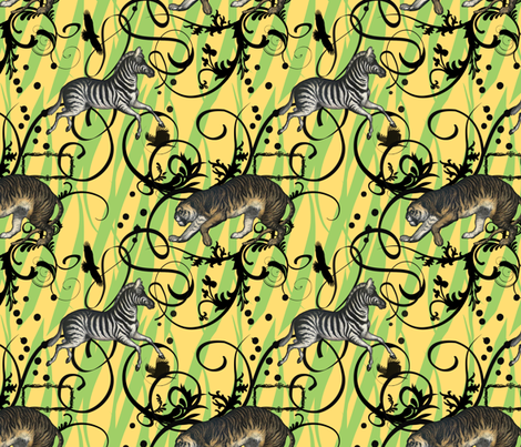 Vintage Animals Green fabric by dentednj on Spoonflower - custom fabric