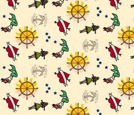 Sailor Tattoos fabric by nicholeann on Spoonflower - custom fabric