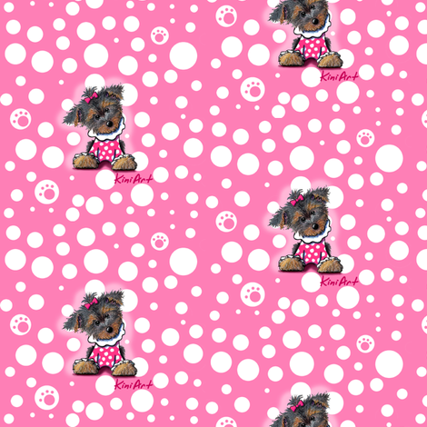 Small Yorkie Girlie Girl  fabric by kiniart on Spoonflower - custom fabric