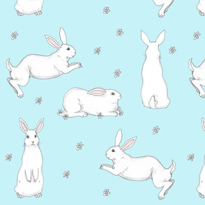 Bunnies on Blue