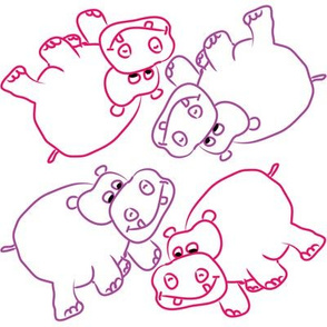 Pink and Purple Hippos