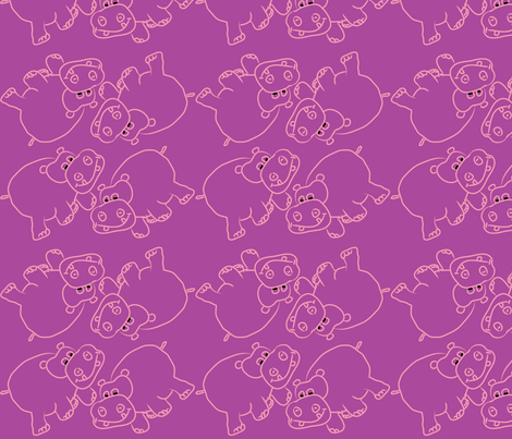 Pink Hippos Purple Background fabric by coveredbydesign on Spoonflower - custom fabric