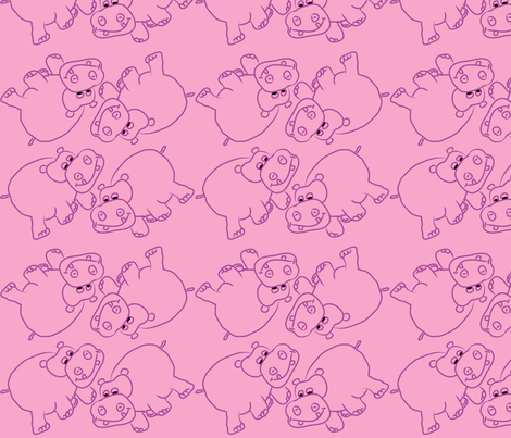 Purple Hippos Pink Background fabric by coveredbydesign on Spoonflower - custom fabric