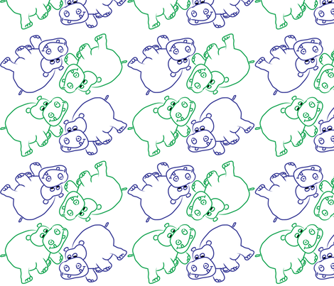 Blue and Green Hippos fabric by coveredbydesign on Spoonflower - custom fabric